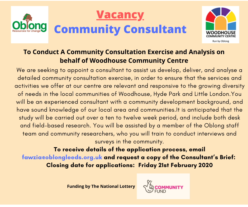 Community Consultant Vacancy email fawzia@oblongleeds.org.uk for brief